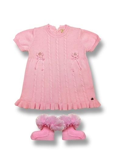 By Leyal For Kids Mevsimlik Triko Kısa Kol Elbise Ve Fırfırlı Çorap-4011 Pudra